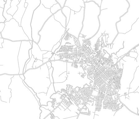 San Francisco de Macorís, Duarte, Dominican Republic, bright outlined vector map with bigger and minor roads and steets created for infographic backgrounds.