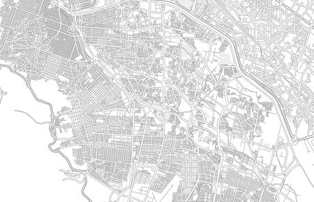 Juárez, Chihuahua, Mexico, bright outlined vector map with bigger and minor roads and steets created for infographic backgrounds. Фото со стока - 128252361