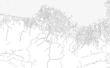 Ouest, Haiti, bright outlined vector map with bigger and minor roads and steets created for infographic backgrounds. Çizim