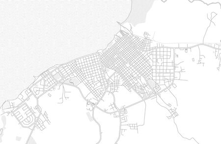 Manzanillo, Granma, Cuba, bright outlined vector map with bigger and minor roads and steets created for infographic backgrounds. Çizim