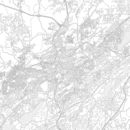 Birmingham, Alabama, USA, bright outlined vector map with bigger and minor roads and steets created for infographic backgrounds.