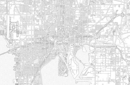 Tampa, Florida, USA, bright outlined vector map with bigger and minor roads and steets created for infographic backgrounds.