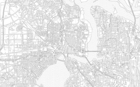 Jacksonville, Florida, USA, bright outlined vector map with bigger and minor roads and steets created for infographic backgrounds. Фото со стока - 128799276
