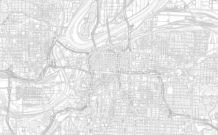 Kansas City, Missouri, USA, bright outlined vector map with bigger and minor roads and steets created for infographic backgrounds.