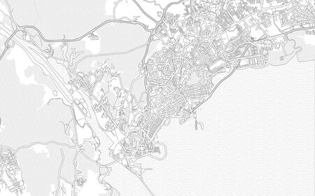 Panamá, Panamá, Panama, bright outlined vector map with bigger and minor roads and steets created for infographic backgrounds. Ilustração