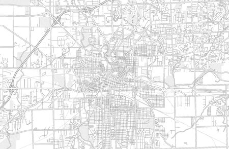 Fort Wayne, Indiana, USA, bright outlined vector map with bigger and minor roads and steets created for infographic backgrounds.