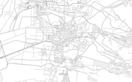 Texcoco, México, Mexico, bright outlined vector map with bigger and minor roads and steets created for infographic backgrounds. Фото со стока - 128253185
