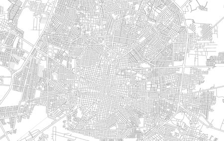 Mérida, Yucatán, Mexico, bright outlined vector map with bigger and minor roads and steets created for infographic backgrounds. Фото со стока - 128251606