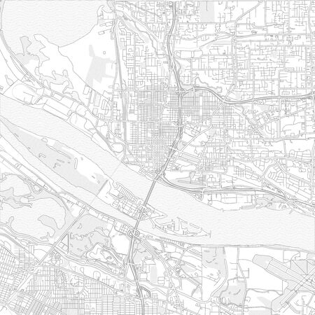 Vancouver, Washington, USA, bright outlined vector map with bigger and minor roads and steets created for infographic backgrounds.