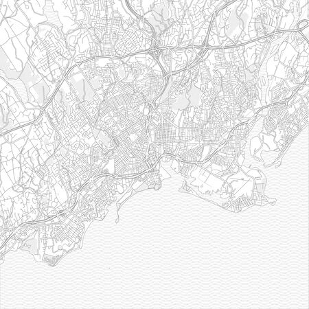 Bridgeport, Connecticut, USA, bright outlined vector map with bigger and minor roads and steets created for infographic backgrounds.