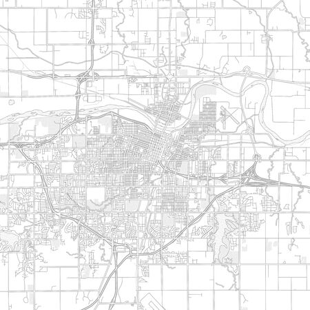 Topeka, Kansas, USA, bright outlined vector map with bigger and minor roads and steets created for infographic backgrounds.