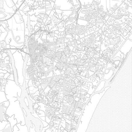 Wilmington, North Carolina, USA, bright outlined vector map with bigger and minor roads and steets created for infographic backgrounds. Фото со стока - 128308076