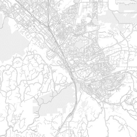 Temecula, California, USA, bright outlined vector map with bigger and minor roads and steets created for infographic backgrounds. Çizim