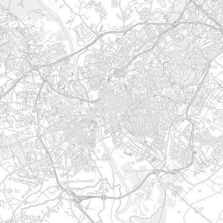 Columbia, South Carolina, USA, bright outlined vector map with bigger and minor roads and steets created for infographic backgrounds.