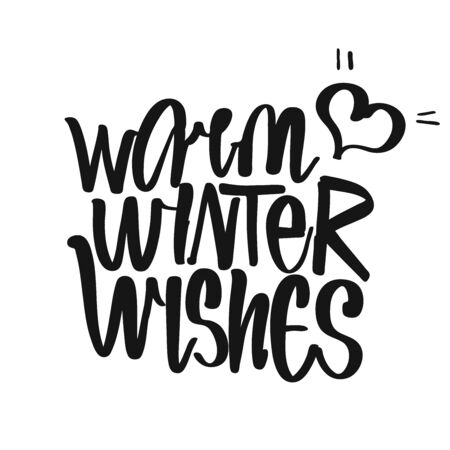 Warm Winter Wishes handwritten lettering. Printable Kitchen art sign for Winter and Festive topics.
