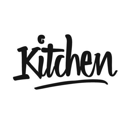 Kitchen handwritten lettering. Printable Kitchen art sign for Food and Cook topics.