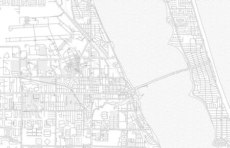Melbourne, Florida, USA, bright outlined vector map with bigger and minor roads and steets created for infographic backgrounds.