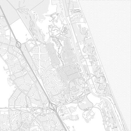 Palm Coast, Florida, USA, bright outlined vector map with bigger and minor roads and steets created for infographic backgrounds. Фото со стока - 128799516