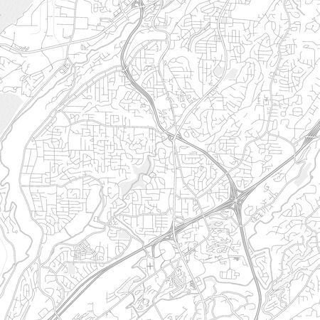 Hoover, Alabama, USA, bright outlined vector map with bigger and minor roads and steets created for infographic backgrounds.