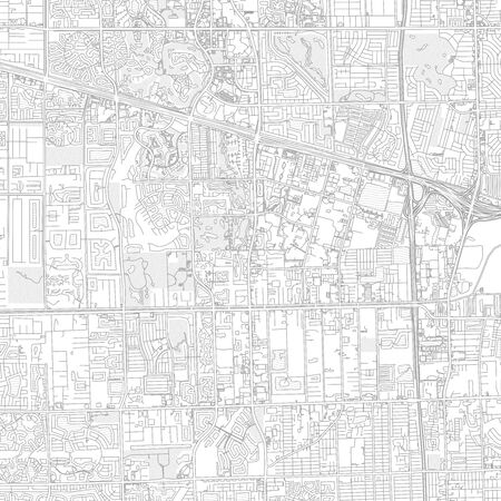Davie, Florida, USA, bright outlined vector map with bigger and minor roads and steets created for infographic backgrounds.