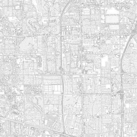Lauderhill, Florida, USA, bright outlined vector map with bigger and minor roads and steets created for infographic backgrounds.