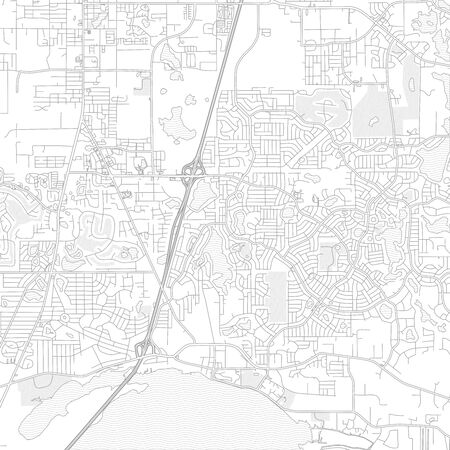 Deltona, Florida, USA, bright outlined vector map with bigger and minor roads and steets created for infographic backgrounds. Иллюстрация