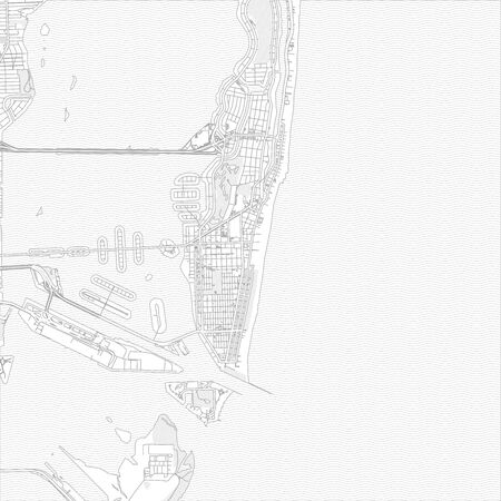 Miami Beach, Florida, USA, bright outlined vector map with bigger and minor roads and steets created for infographic backgrounds.