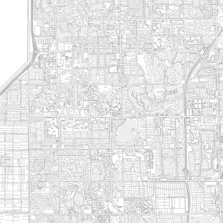 Sunrise, Florida, USA, bright outlined vector map with bigger and minor roads and steets created for infographic backgrounds.