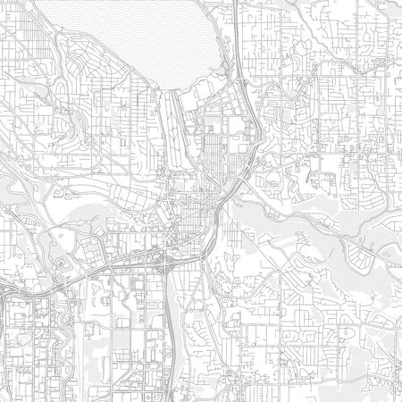 Renton, Washington, USA, bright outlined vector map with bigger and minor roads and steets created for infographic backgrounds.