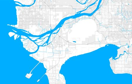 Rich detailed vector area map of Delta, British Columbia, Canada. Map template for home decor.
