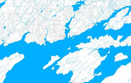Rich detailed vector area map of Kingston, Ontario, Canada. Map template for home decor. 向量圖像