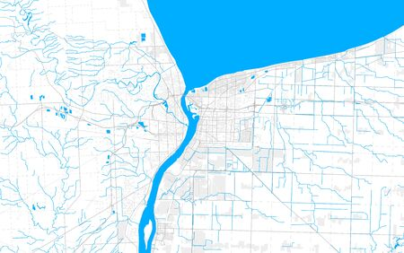 Rich detailed vector area map of Sarnia, Ontario, Canada. Map template for home decor.