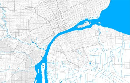 Rich detailed vector area map of Windsor, Ontario, Canada. Map template for home decor. Иллюстрация