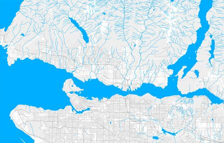 Rich detailed vector area map of North Vancouver, British Columbia, Canada. Map template for home decor.