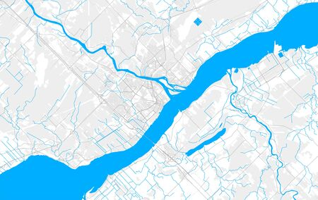Rich detailed vector area map of Trois-Rivières, Quebec, Canada. Map template for home decor.  イラスト・ベクター素材