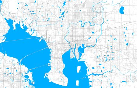 Rich detailed vector area map of Tampa, Florida, U.S.A.. Map template for home decor.