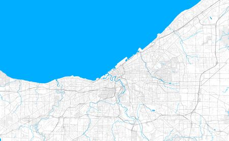 Rich detailed vector area map of Cleveland, Ohio, U.S.A.. Map template for home decor.