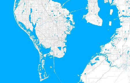Rich detailed vector area map of St. Petersburg, Florida, U.S.A.. Map template for home decor. Фото со стока - 129789123