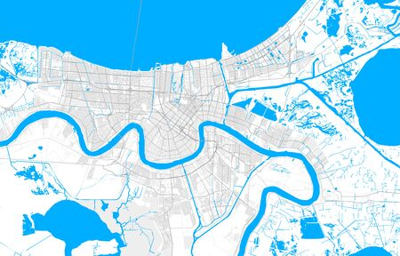 Rich detailed vector area map of New Orleans, Louisiana, U.S.A.. Map template for home decor.