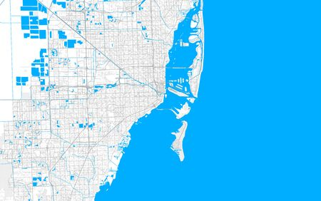 Rich detailed vector area map of Miami, Florida, U.S.A.. Map template for home decor.