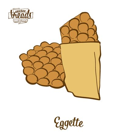 Eggette bread. Vector illustration of Pancake food, usually known in Hong Kong. Colored Bread sketches.