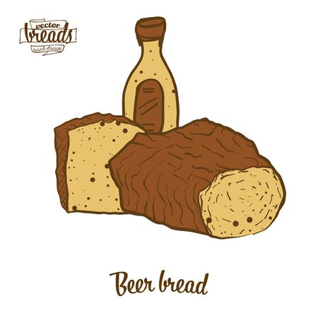 Beer bread bread. Vector illustration of yeast bread food, usually known in Europe, USA. Colored Bread sketches. Illustration