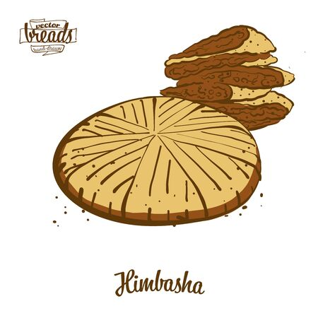 Himbasha bread. Vector illustration of Flatbread food, usually known in Eritrea . Colored Bread sketches. Banque d'images - 129789136