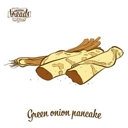 Panqueques de cebolla verde. Ilustración de vector de comida Flatbread, generalmente conocida en China. Bocetos de pan de colores.