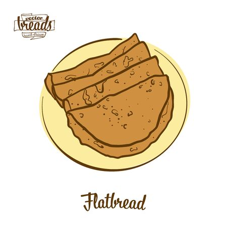 Flatbread bread. Vector illustration of Flatbread food, usually known in . Colored Bread sketches.