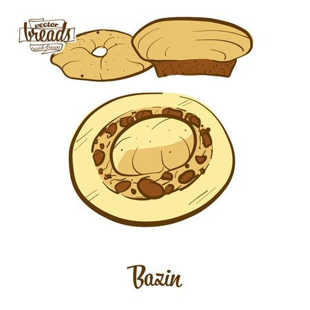 Bazin bread. Vector illustration of Flatbread food, usually known in Libya. Colored Bread sketches. Ilustracja