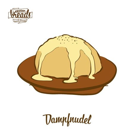 Dampfnudel bread. Vector illustration of Sweet bread food, usually known in Germany. Colored Bread sketches. Ilustrace