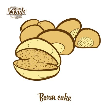 barm cake bread. Vector illustration of Yeast bread food, usually known in Lancashire. Colored Bread sketches.