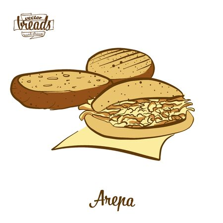 Arepa bread. Vector illustration of Cornbread food, usually known in South America. Colored Bread sketches.