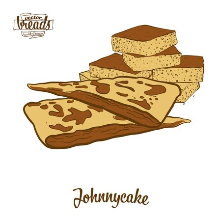Johnnycake bread. Vector illustration of Flatbread food, usually known in North America. Colored Bread sketches.